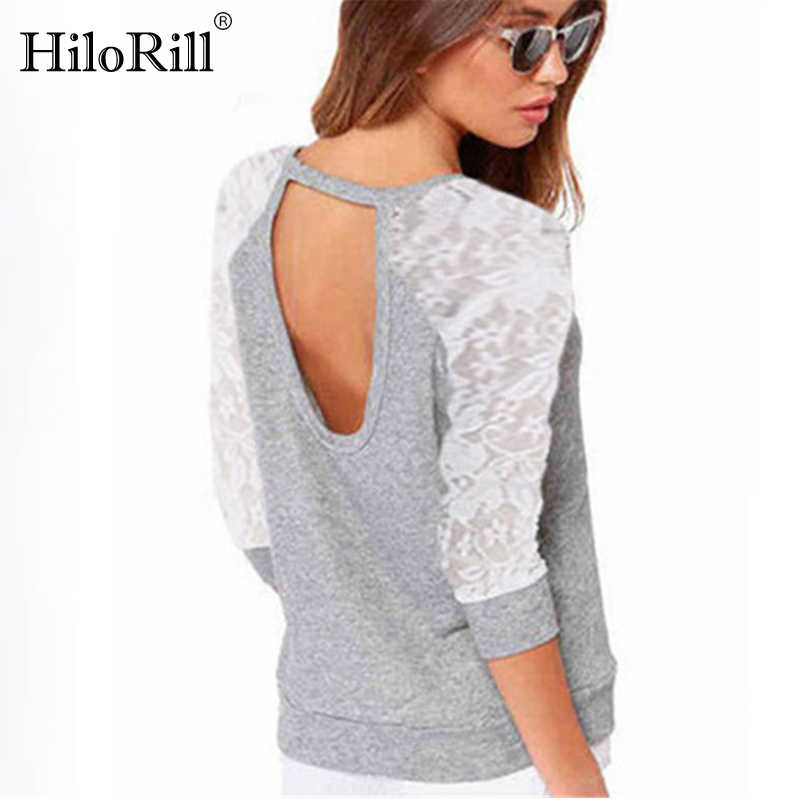 Vrouwen Sweatshirts 2019 Lente Casual Lange Mouw Truien Kant Backless Hoodies Sweatshirts Truien Leisure Top Sudaderas Mujer