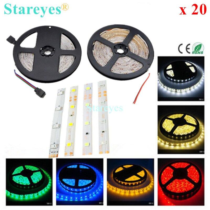 20 pcs SMD 3528 2835 60 LED / M RGB LED Strip tape 5M 300 LED IP65 Waterproof flashlight string LED Light string Lighting strip