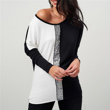 178ab05f3c5 Ladies Tops and Blouses 2018 Off Shoulder Long Sleeve Shirt Sequined  Patchwork Tunic Casual Loose Tops