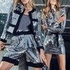 Silver Color Long Sleeve Sequin Mini Luxury Club Dress 3