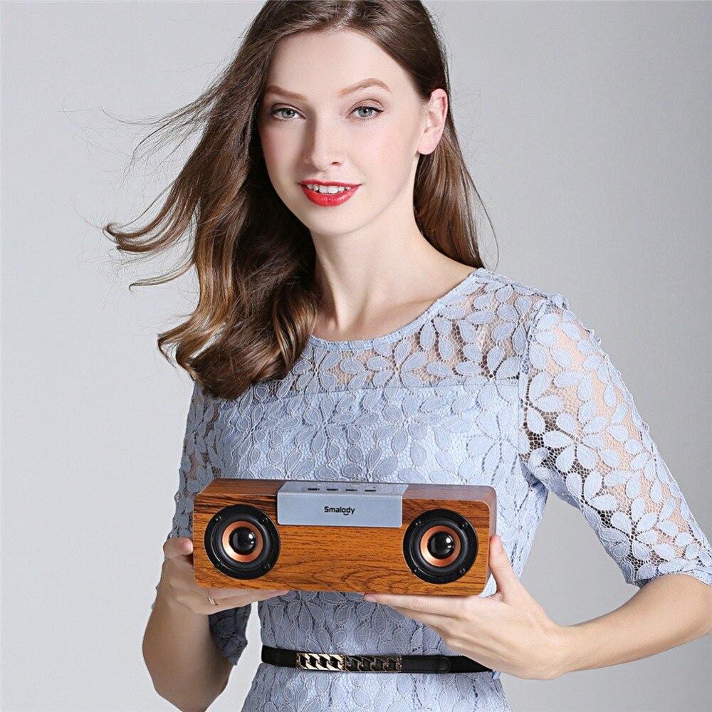 Nouveau haut-parleur sans fil Bluetooth haut-parleurs en bois stéréo Portable boîte de son extérieure Subwoofer haut-parleur maison PC barre de son TF FM Radio