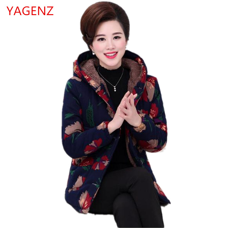 Large size Winter jacket Middle-aged women's clothing NEW Add wool Warm cotton-padded jacket Thickening Women winter coat K2902