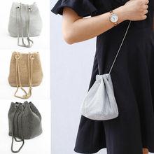 Frauen-Mädchen-Diamant-großer Eimer-Abend-Bankett-Schulter-Umhängetasche handbag women Women Summer Hollow Handmade  Bags