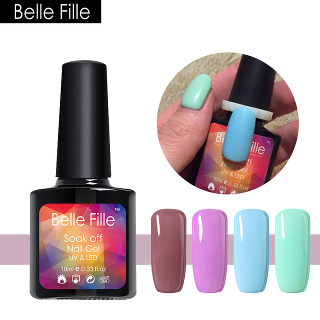 883ca4e13f US $1.79 45% OFF|Belle Fille Power Blue Gel Nail Polish Bling shinning UV  Gel Soak Off Beauty Nail Art Design Need UV LED Lamp Varnish-in Nail Gel ...
