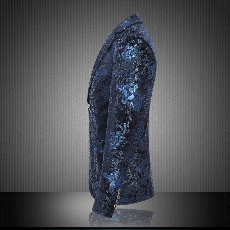 wine Haute Occasionnel Hiver Deux Manches Taille Hommes D'affaires Boutons Blazer Veste Plus Costume Longues Slim Navy Red Blue Fit Qualité À Fleur rZRwrnFq