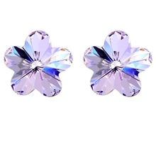 Женские серьги-гвоздики с кристаллами в виде цветка, сделанные с австрийскими кристаллами, посеребренные