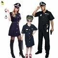 2016 свободный размер Хэллоуин Полиции Костюм для Женщин Мужчины Девушка Сексуальная Cop Наряд Костюмы Партии Fancy Dress