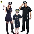 2016 free size Halloween Police Costume for Women Men Girl Sexy Cop Outfit Party Costumes Fancy Dress