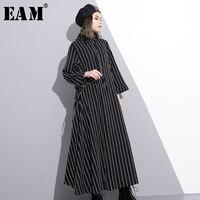 EAM 2018 New Spring Lapel Long Sleeve Black Waist Drawstring Ruffles Split Joint Long Striped