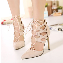 Fashion Angle Strap Cut outs Style Thin High Heels font b Women b font Pumps Sexy