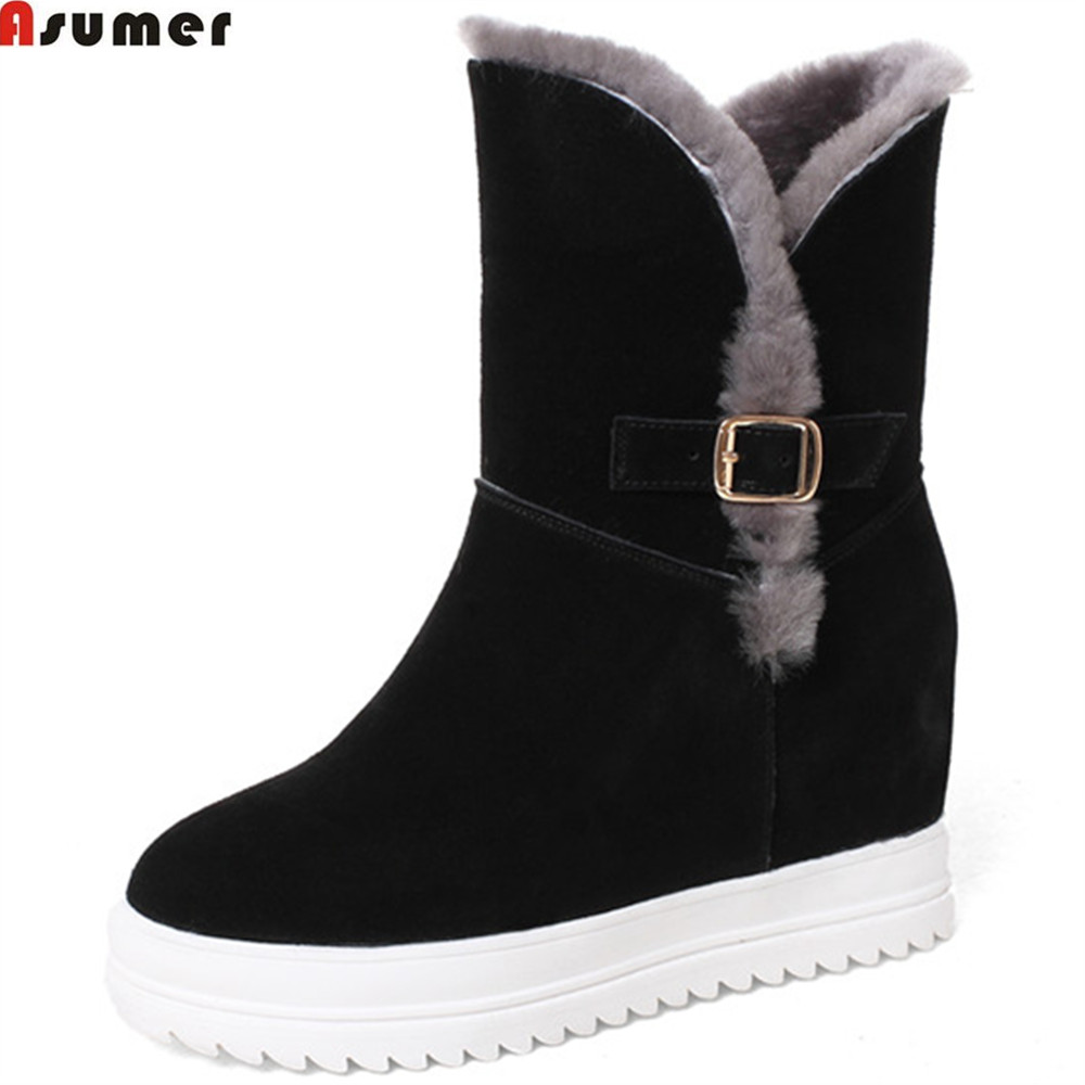Asumer black pink fashion winter women boots round toe cow suede ladies snow boots height increasing fur ankle botos keep warm asumer 2018 hot sale new arrive women boots round toe black white pink ladies boots keep warm winter knee high boots