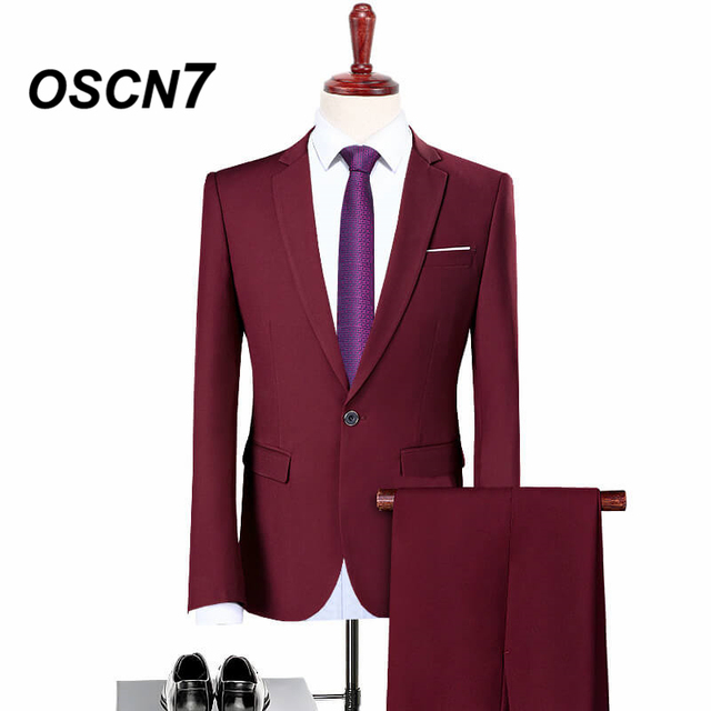 OSCN7 Wine Red Dress Suit Men Slim Fit Leisure Business Fashion Suits for Men Plus Size Casual Terno Masculino 5XL