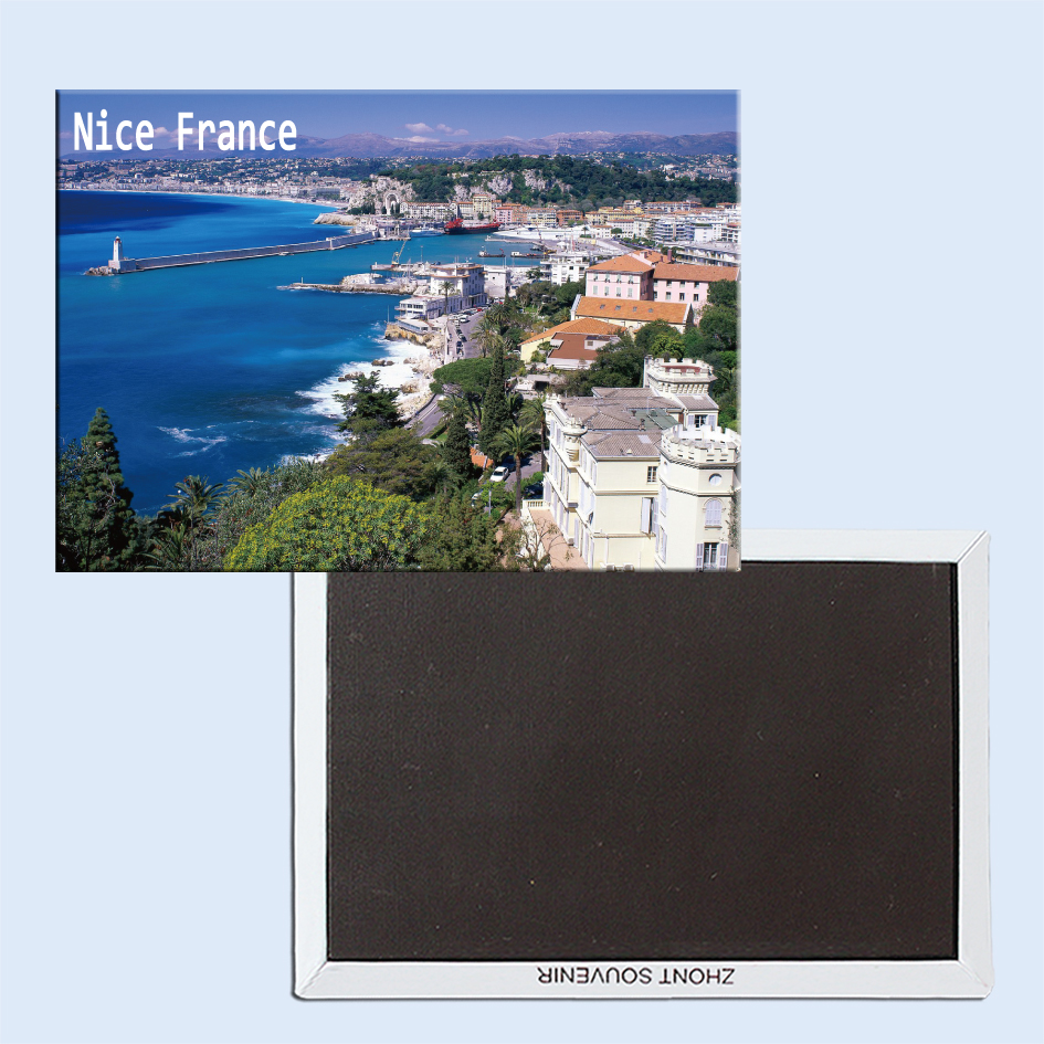 Coastal View, Nice, France, Magnetic Refrigerator Affixed With Tourist Souvenirs Home Accessories 24875