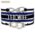 (10 Pçs/lote) Aplicação Da Lei do Amor infinito Mulher Algemas Pulseira Envoltório Leo Mulher Blue Black Suede & Leather Personalizado Quaisquer Temas