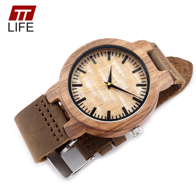 ФОТО TTLIFE New Arrival Vintage Round Bamboo Quartz Woodenwatches With Real Leather Band Yellow Hour Pointer Watch in Metal Box WD270