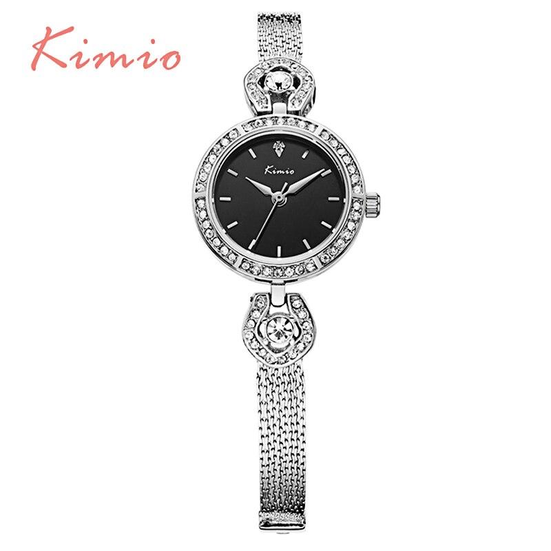KIMIO Small Round Crystal Dial Women Watches Thin Strap Bracelet Quartz Watch Ladies Dress Wristwatch Relogio