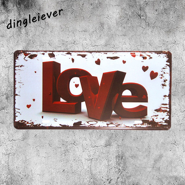 Red Love Word Board License Plate Vintage Tin Sign Coffee Signs Kitchen  Decor Home Decor