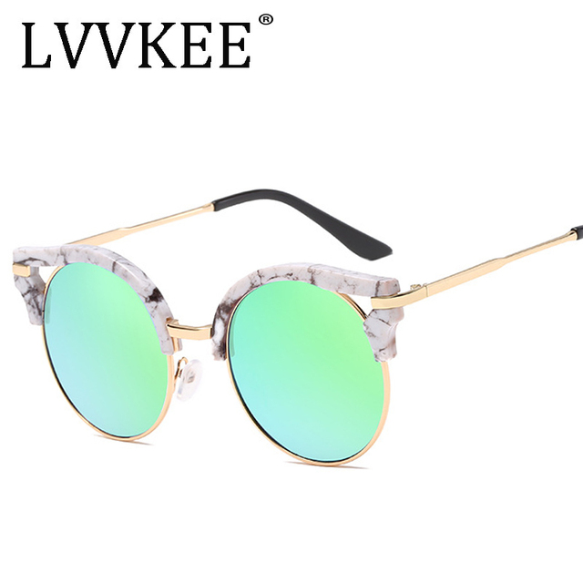 ffcb2a89ae fashion vintage Round cay eye Sunglasses women brand designer gold Frame  Mirror coating unusual sun Glasses shades 16030
