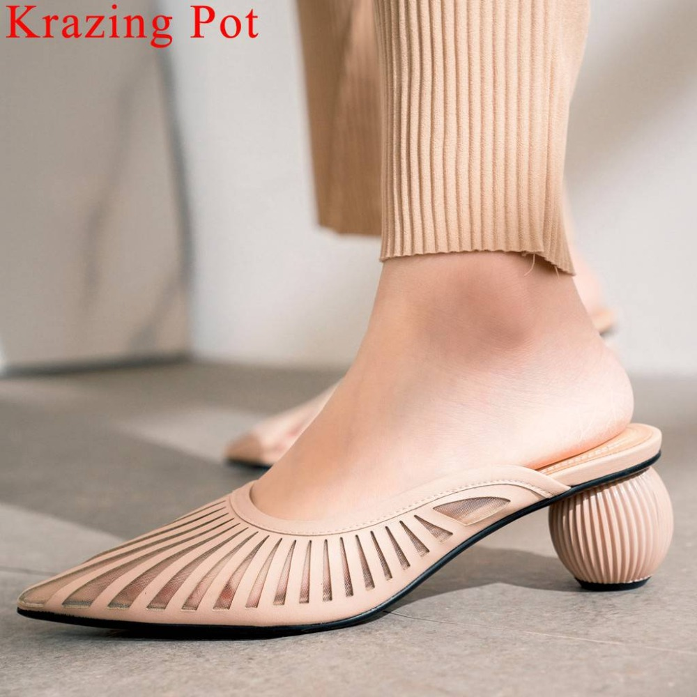 Krazing Pot art design slip on mules European design strange style med heel pointed toe elegant