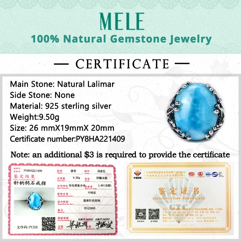 Natuurlijke larimar zilveren ring, ovaal 15mm * 20mm, blauwe steen en - Fijne sieraden - Foto 6