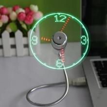 Мини Гибкая светодиодная USB часы вентилятор устройства для отображения времени офисный стол температура охлаждения регулируемый дисплей вентилятор для ПК ноутбук настольные подарки