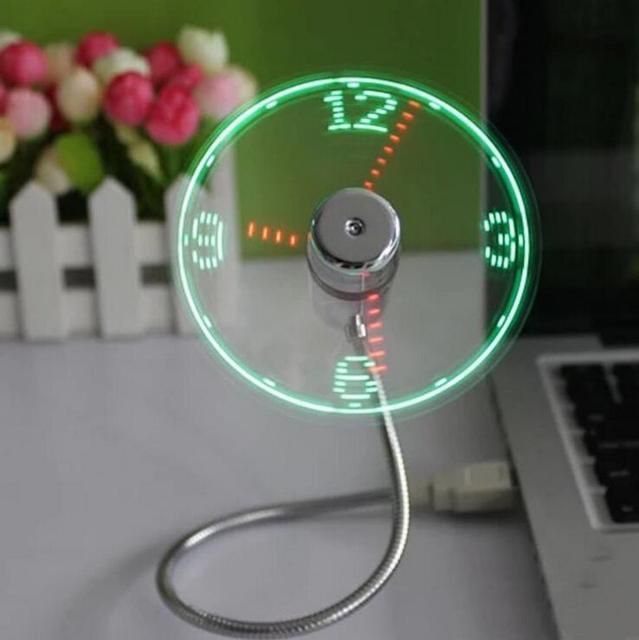 MINI Flexible LED USB Clock Fan Watch 1