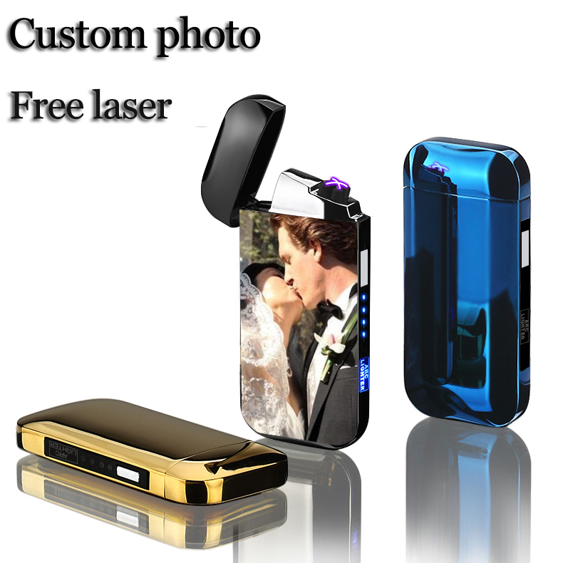 Image 2 - Dual Arc Cigar Palse Touch Sensing Windproof Plasma Thunder Lighter USB Lighter Rechargeable Electronic Lighter Power Display-in Cigarette Accessories from Home & Garden