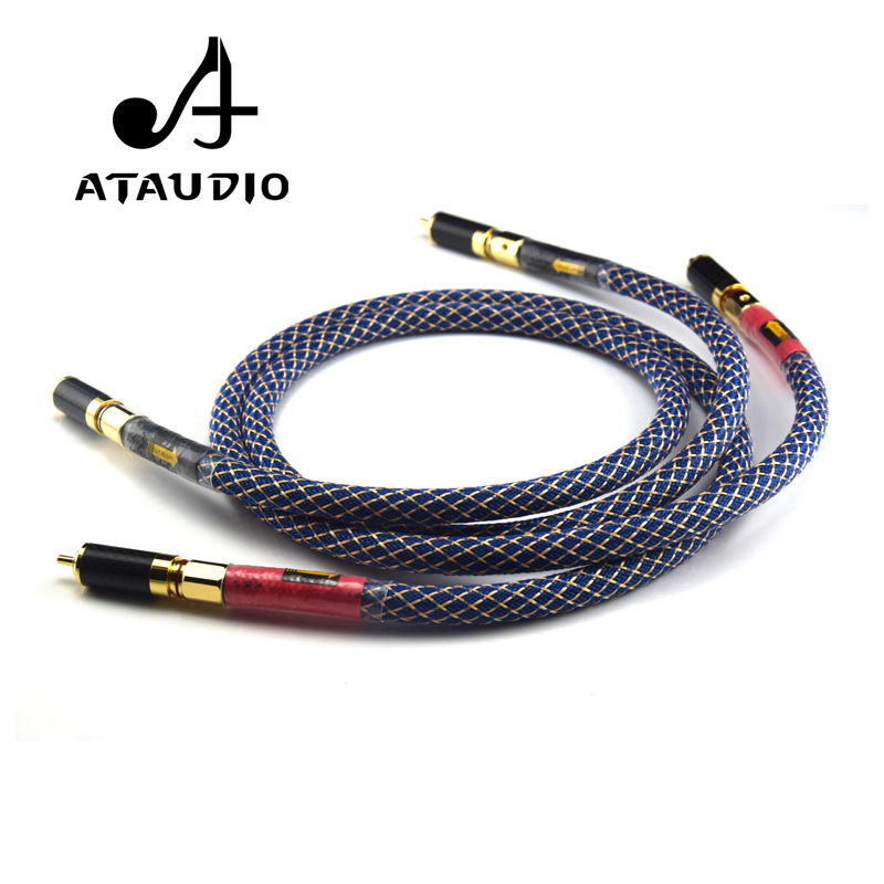 Image 3 - ATAUDIO One Pair Ortofon 8N OFC Hifi RCA Cable  Pure Copper intecconnect Audio Cable with Carbon Fiber RCA Plugs