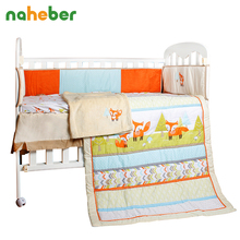 8Pcs Baby Bedding Set Newborn Infant Cotton Crib Bedding Cartoon Fox Bumpers/Quilt/Fitted Sheet/Bed Skirt/Blanket for Cot