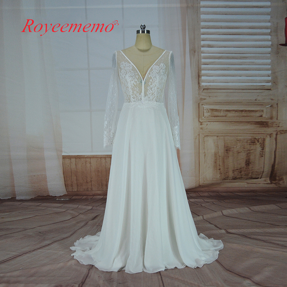 2017 french lace long sleeve Wedding Dress classic design chiffon Bridal gown custom made wedding gown factory directly