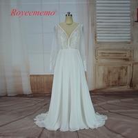 2017 French Lace Long Sleeve Wedding Dress Classic Design Chiffon Bridal Gown Custom Made Wedding Gown