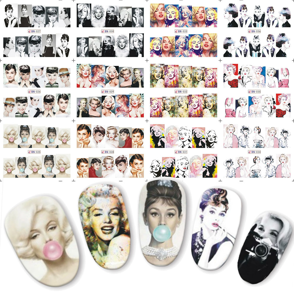 12pcs Beauty Woman Full Cover Water Transfer Nail Art Sticker Nails Decal Manicure DIY Slider BN025-036