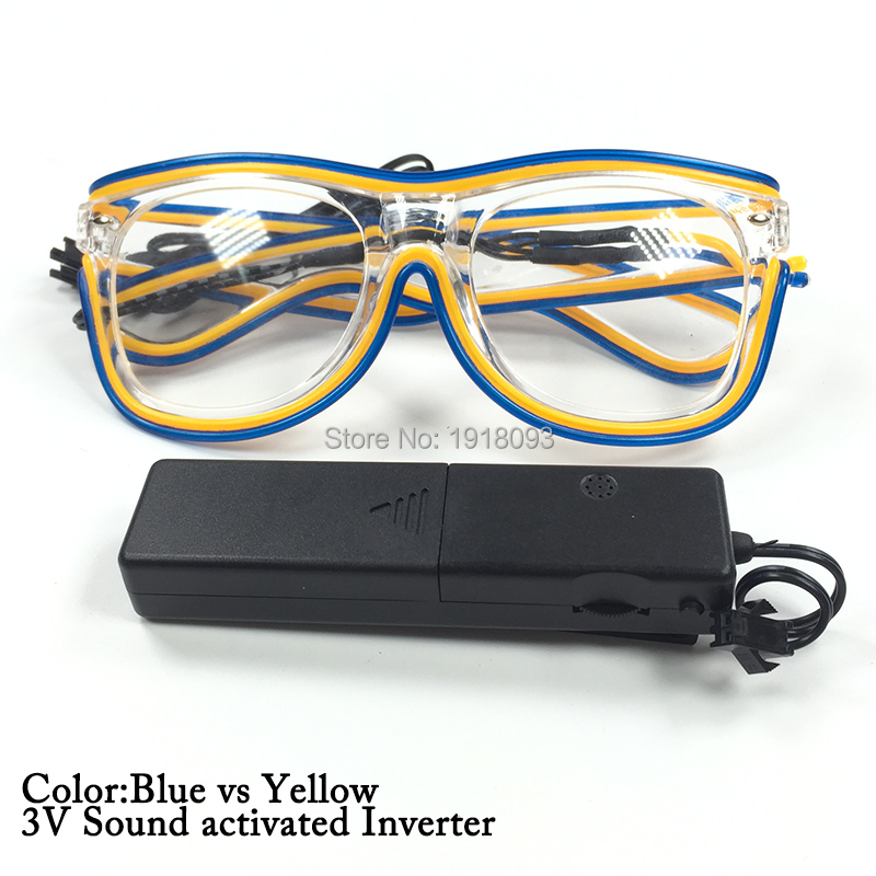 Festival decoration EL Wire Glasses EL Glasses Gift with DC-3V Sound activated Driver 10pieces Holiday Lighting Decor 3m 2 3mm el wire 3v aaa sound activated battery inverter mix order available