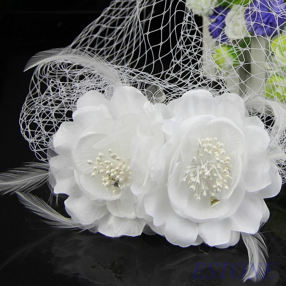 E74 free shipping women head wear bridal birdcage veil fascinator e74 free shipping women head wear bridal birdcage veil fascinator white feather flower with comb mightylinksfo
