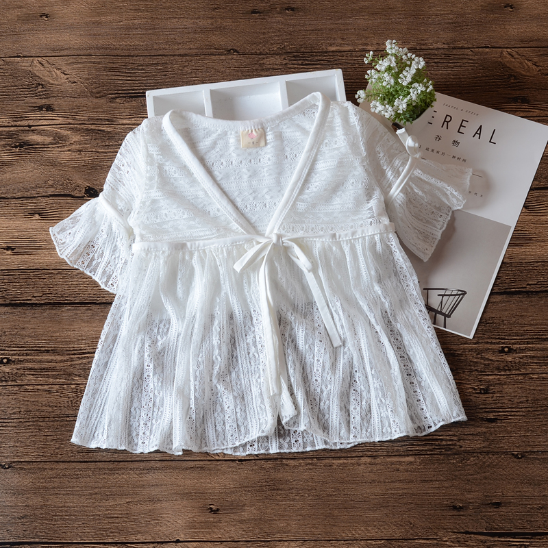 White Baby Girls Beach Blouse Outerwear Summer Jacket Cardigan Cool Baby Girls Coat For 3 <font><b>6</b></font> <font><b>12</b></font> <font><b>24</b></font> Month Baby Clothes RKC185050 image