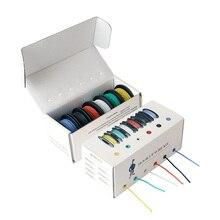 60 m/box 196ft Hook up Trefoli 22 AWG UL3132 Silicone Flessibile Filo Elettrico Isolati In Gomma In Scatola di Rame 300V 6 Colori