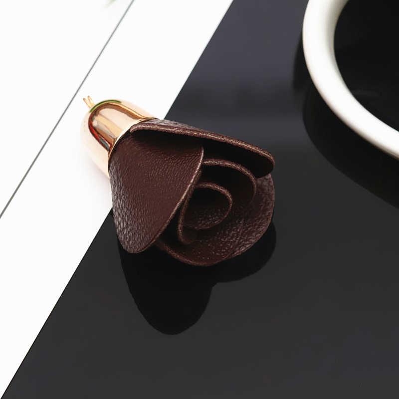 Bricolage à la main en cuir PU fleur Rose bijoux résultats et composants rideau vêtements accessoires bricolage clé téléphone portable sac pendentif