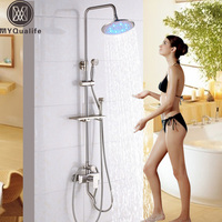 Brushed Nickel Rain light Shower Set Mixer Faucet In Wall Outdoor Tub Shower Mixer with Commodity Shelf Toilet Flush Head