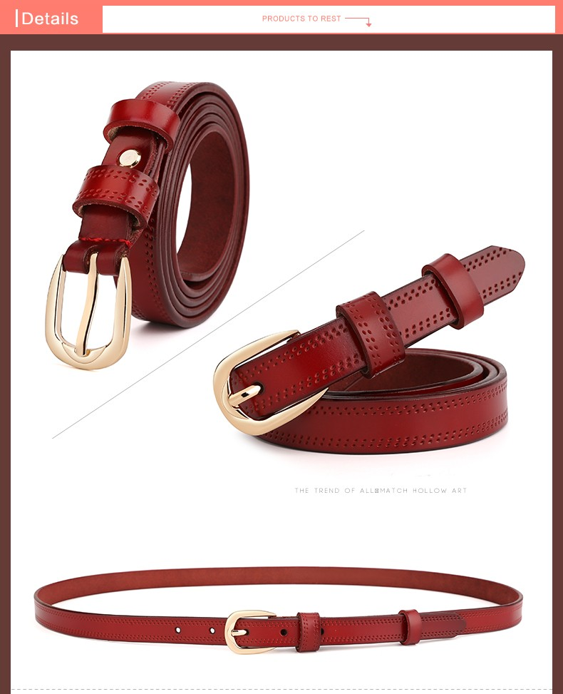 CASTELLES Split Leather Belts For Women Thin Strap Fashion Belt Female Genuine Leather Woman Metalic Buckle Girls High Quality (8)