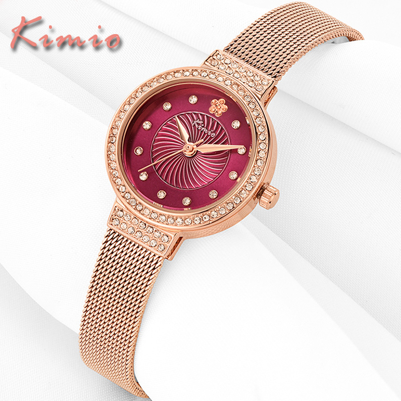 KIMIO Brand Women Fashion Casual Dress Steel Bracelet Quartz Watch Montre Femme Classic Lady Clock Wristwatch Relogio Feminino kimio new fashion leather strap women quartz casual bracelet watch clock female ladies girl dress wristwatch relogio and box