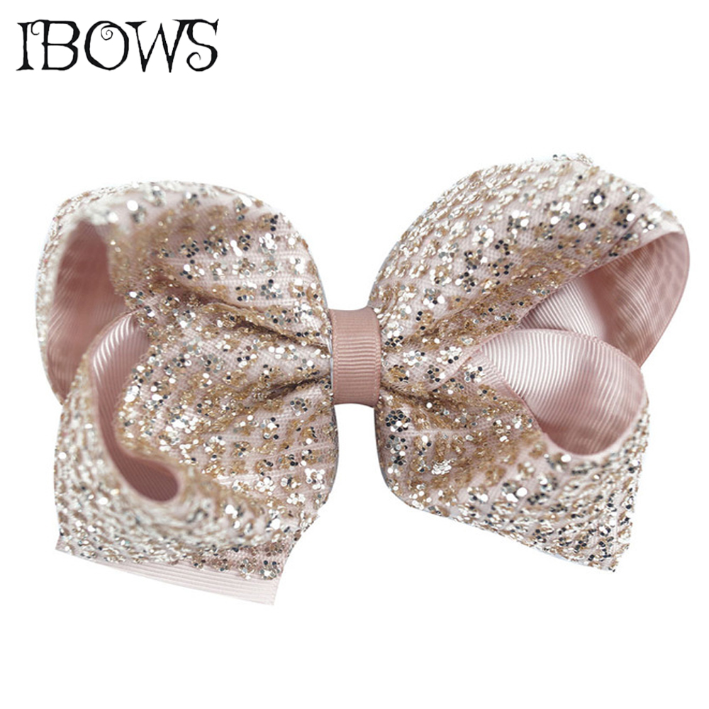 1PC Bling Hair Bows Baby Girls Boutique Sequin Ribbon Bow Hairpins Hair Clips For Children Hair Accessories new ribbon silver bow hairpins girl little hair top clips bowknot for baby children accessories for hair gift all by handmade