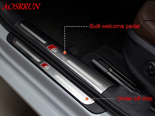 High quality Built external pedal Cover threshold Stainless Steel Door sill scuff plate for audi A3 hatchback sedan car-styling stainless steel door sill protectors scuff plate welcome pedal threshold pads trim fit for audi q7 2015