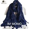 Mujeres Pure Color de la Tela Escocesa Bufandas y Abrigos Japonés Estilo Étnico Soft Transpirable Bufanda y Mantón de la Borla de Ala Oblonga Wrap