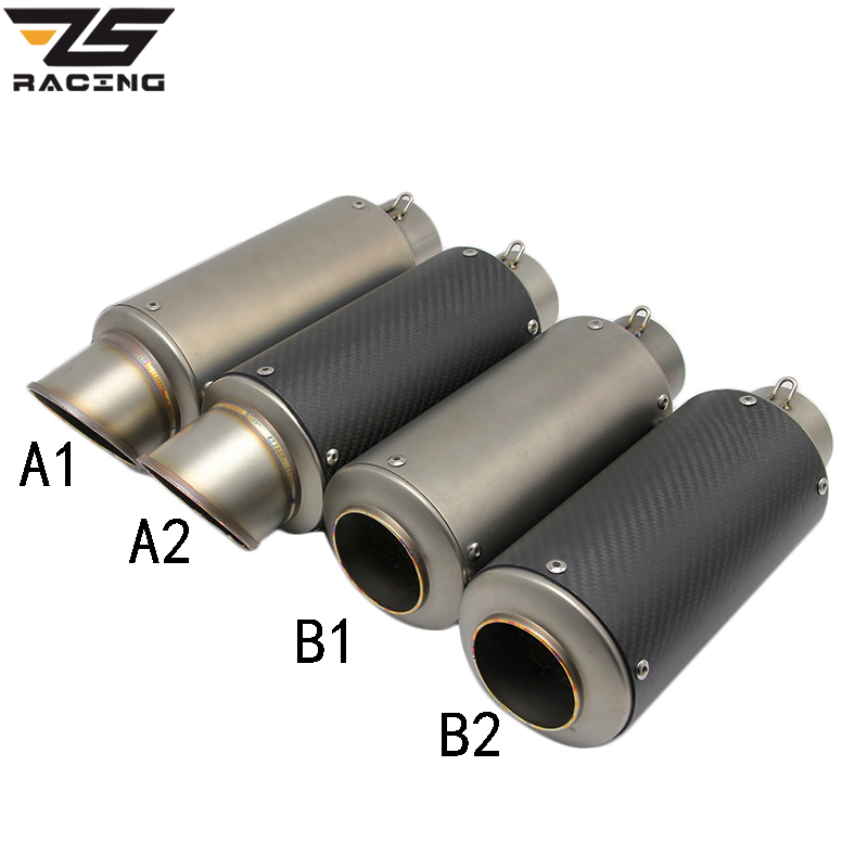ZS-Racing Inlet 35-61mm Modified Motorcycle Exhaust Pipe Muffler SC GP Exhaust Mufflers Carbon Fiber Stainless Steel Exhaust zs racing 51mm motorcycle exhaust muffler sc gp escape exhaust mufflers carbon fiber exhaust pipe for z1000 z750 z800 ninja250