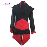 Assassins Creed Cosplay Costume 3 Connor Kenway Cosplay Bluzy Halloweew Black Red Kurtki Dla mężczyzn i Kobiet