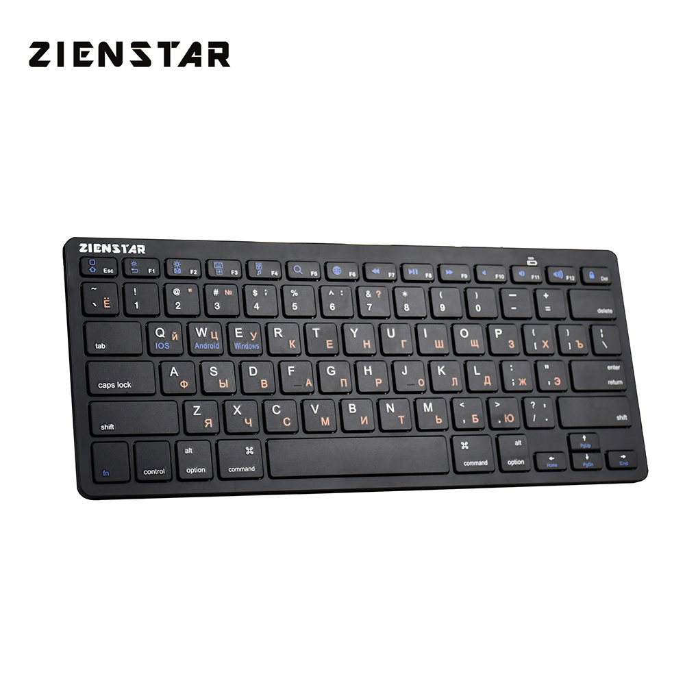 Zienstar Ultra Slim Wireless Bluetooth KEYBOARD For IPAD/Iphone/Mac/LAPTOP /DESKTOP PC/ Android Tablet,Russia Letter