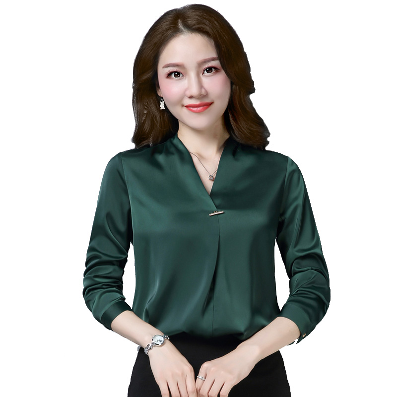 Spring Fall Fashion Women Office Lady Orange Black Green Long Sleeve 4xl Blouse , Formal Woman V Neck Wine Red Elegant Blouses 5