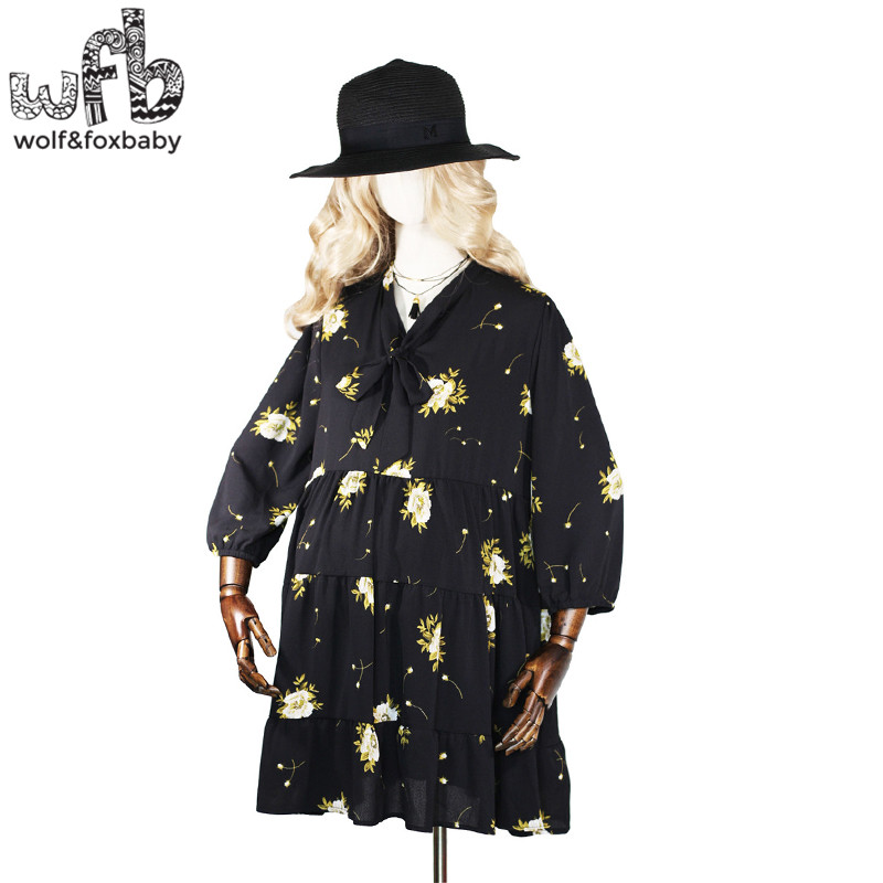 Retail Pregnant women Large size dress printing flower half sleeve O-neck casual dress summer