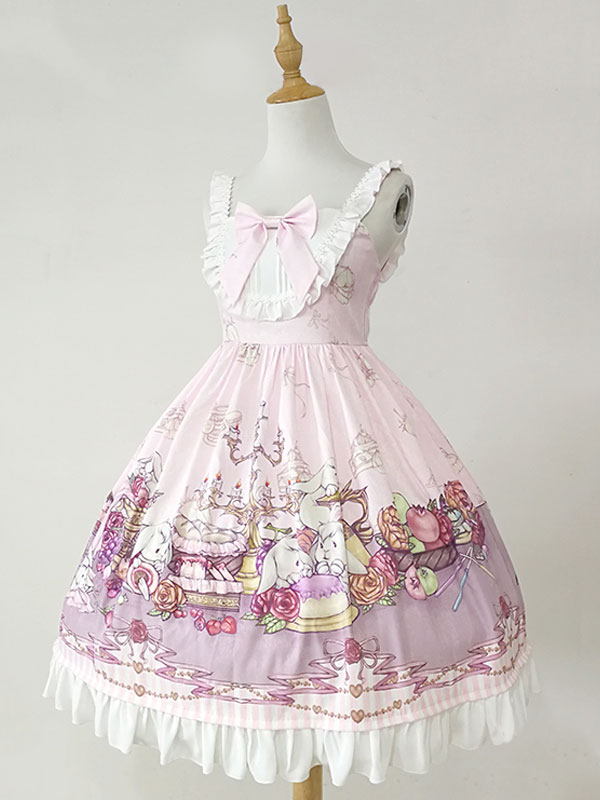 Lolita robe doux arcs et volants lapins imprimer Lolita JSK robe