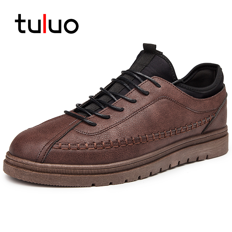 TULUO New PU Leather Men Casual Shoes Breathable Comfortable Lace-up Male Flat Shoes Outdoor Travel Walking Low Top Sneakers недорго, оригинальная цена